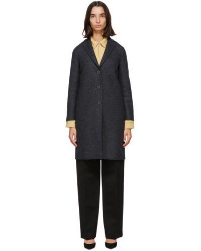 Синее шерстяное длинное пальто с воротником с лацканами Harris Wharf London