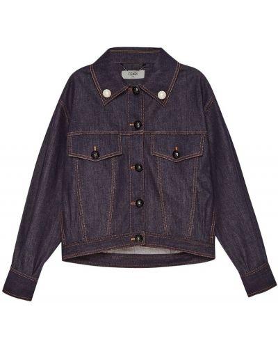Джинсовая куртка оверсайз с вышивкой Fendi