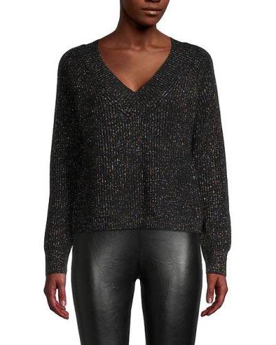 Хлопковый черный длинный свитер с V-образным вырезом 525 America