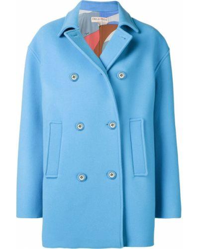 Синее пальто классическое с капюшоном с воротником Emilio Pucci