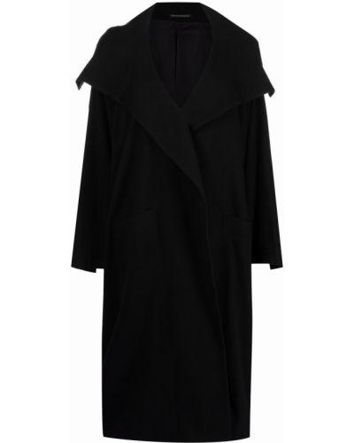 Пальто с капюшоном - черное Yohji Yamamoto