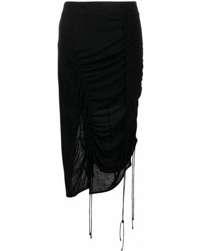 Asymetryczny czarny spódnica z falbankami Helmut Lang