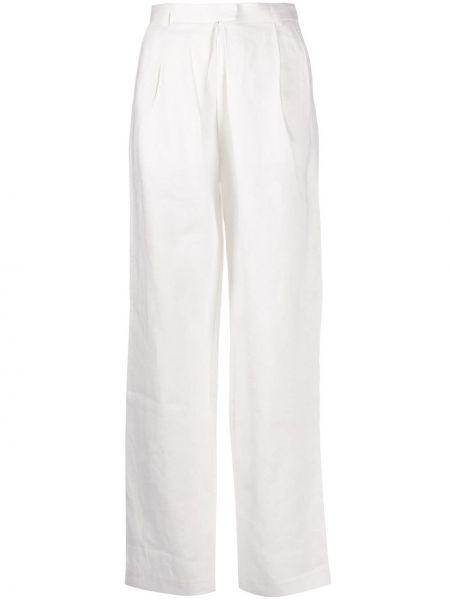 Spodnie z wysokim stanem z paskiem - białe Mara Hoffman