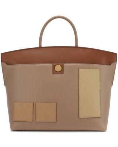 Кожаная сумка бархатная с аппликациями Burberry