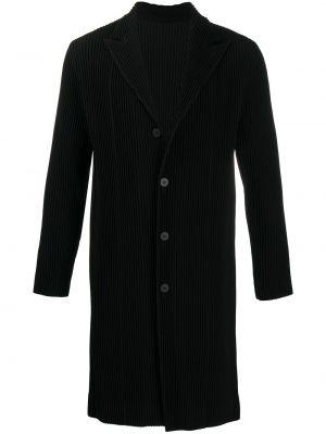 С рукавами однобортное черное пальто классическое Homme Plissé Issey Miyake