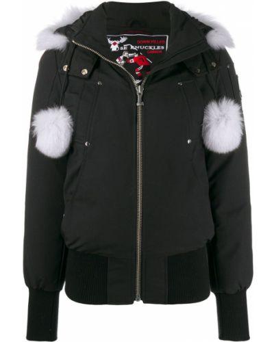 Черное длинное пальто с опушкой Moose Knuckles