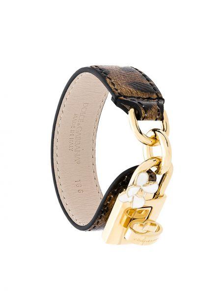 Кожаный браслет коричневый золотой Dolce & Gabbana