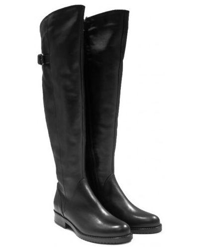 Кожаные ботфорты - черные Sala