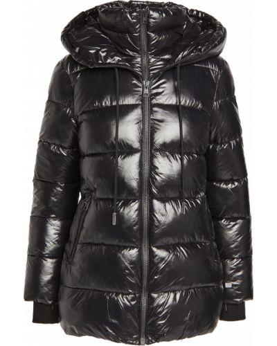 Черное длинное пальто с капюшоном с манжетами Soia & Kyo