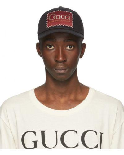 Z paskiem bawełna czarny czapka z łatami Gucci