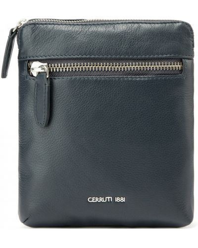 Синяя кожаная сумка Cerruti 1881