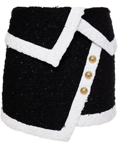 Черная хлопковая юбка Balmain