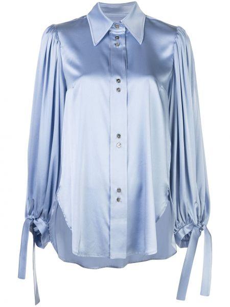 Niebieska koszula z długimi rękawami z jedwabiu Ellery