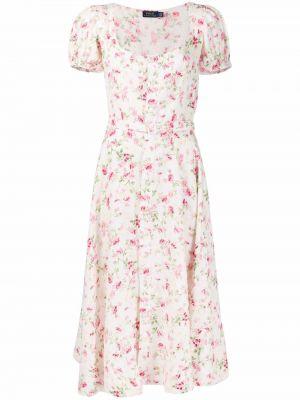 Платье мини в цветочный принт - белое Polo Ralph Lauren