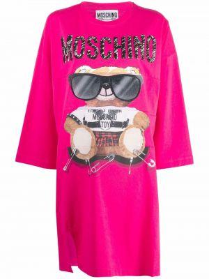 Розовое платье с медведем Moschino