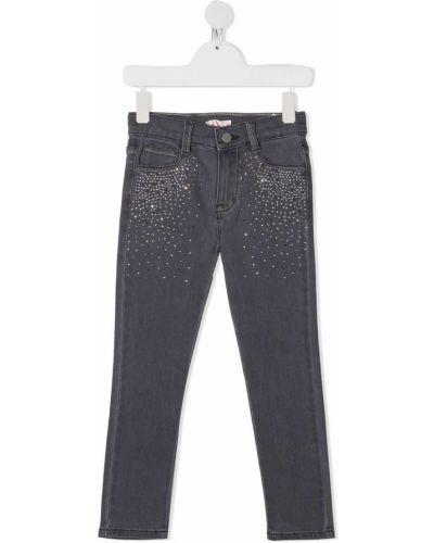 Klasyczne jeansy bawełniane z paskiem Billieblush