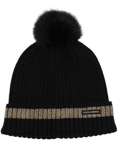 Шерстяная черная шапка бини Dolce & Gabbana