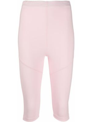Розовые укороченные брюки с поясом Styland