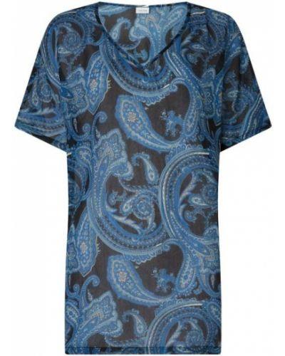 Niebieska tunika krótki rękaw z dekoltem w serek Lascana