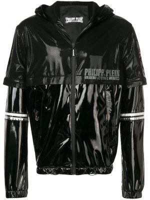 Czarna kurtka z kapturem z długimi rękawami Philipp Plein