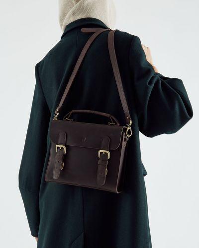 Коричневый кожаный портфель с карманами черешня