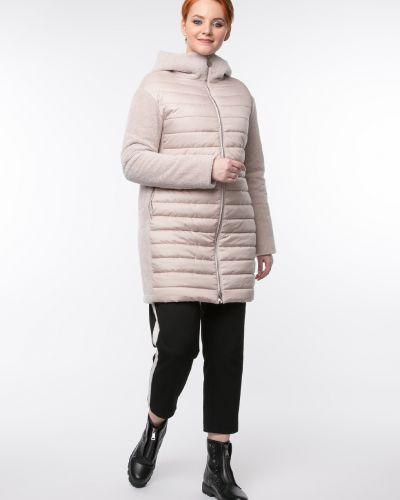 Прямое бежевое пальто с капюшоном Aliance Fur