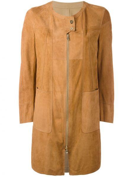Коричневое кожаное пальто с капюшоном Sylvie Schimmel