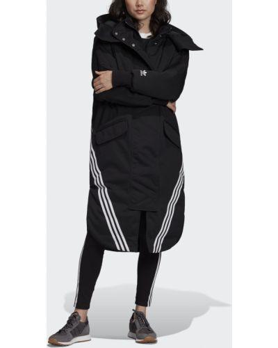 Парка черная с капюшоном Adidas
