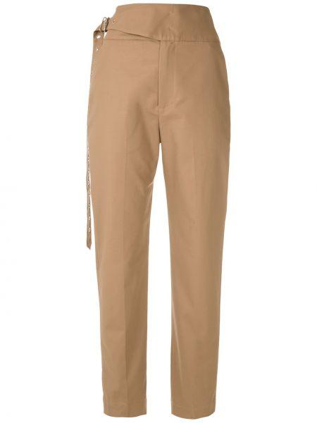 Коричневые прямые брюки с поясом на молнии Reinaldo Lourenço