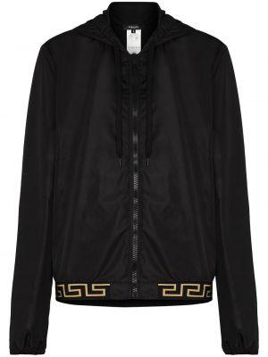 Черная куртка с капюшоном на молнии Versace