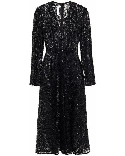 Czarna sukienka midi tiulowa z cekinami Rotate Birger Christensen