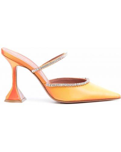 Кожаные мюли - оранжевые Amina Muaddi