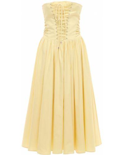 Желтое кружевное платье миди из поплина Philosophy Di Lorenzo Serafini