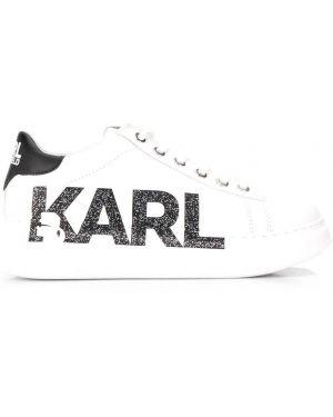 Кожаные кроссовки с логотипом белый Karl Lagerfeld