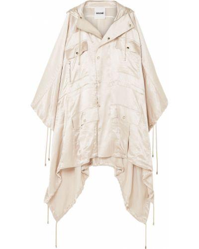 Асимметричное бежевое пальто с капюшоном Koché