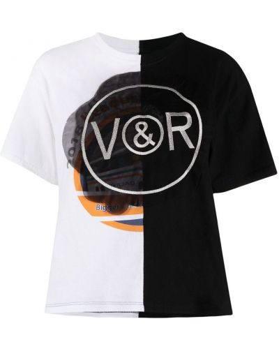 Хлопковая черная футболка с вышивкой Viktor & Rolf