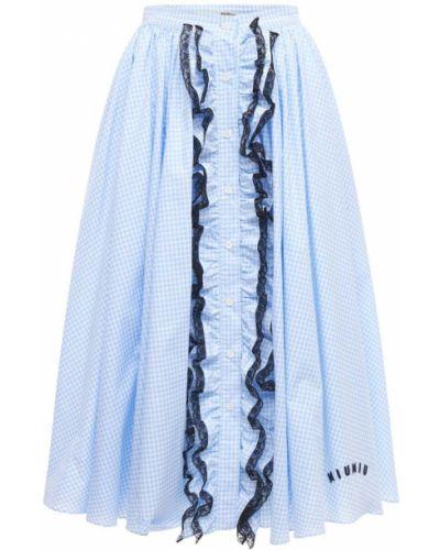 Bawełna niebieski spódnica z haftem Miu Miu