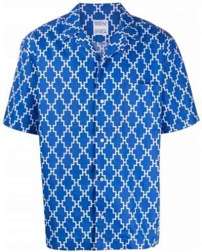 Niebieska klasyczna koszula krótki rękaw bawełniana Marcelo Burlon County Of Milan