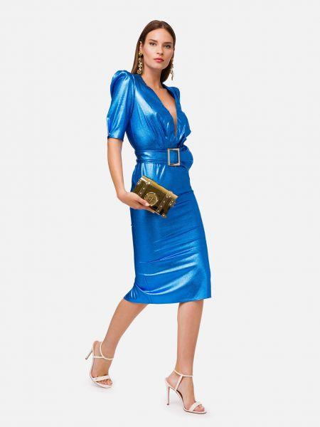 Синее платье с поясом из вискозы Elisabetta Franchi