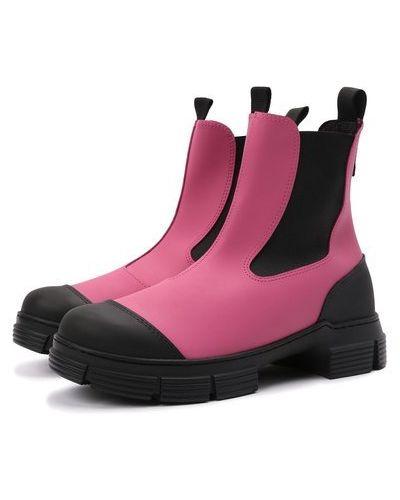 Розовые зимние ботинки челси Ganni