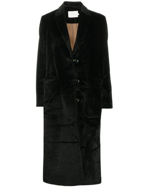 Черное шерстяное длинное пальто с воротником с подкладкой Neul