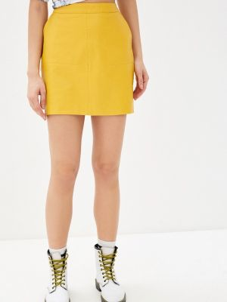 Кожаная юбка желтый весенняя Colin's