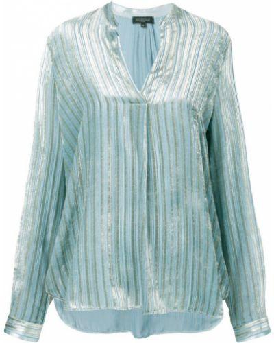 Блузка с длинным рукавом с V-образным вырезом синяя Antonelli