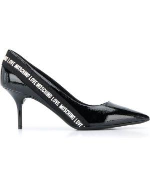 Туфли-лодочки кожаные на шпильке Love Moschino
