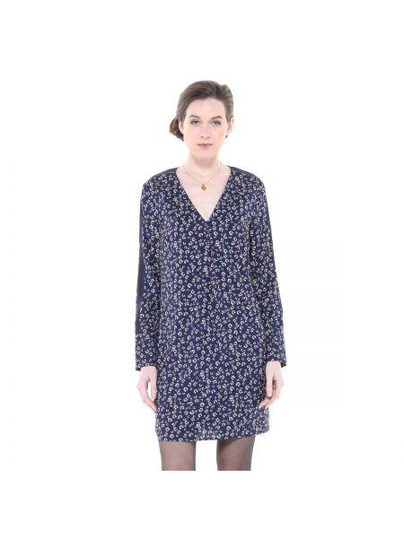 Платье мини с V-образным вырезом с рисунком на молнии с длинными рукавами Charlise