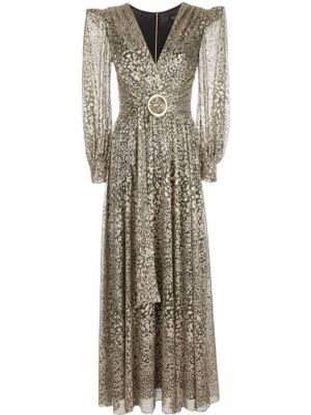 Платье макси на пуговицах леопардовое Patbo