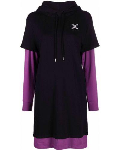 Платье макси с длинными рукавами - черное Kenzo