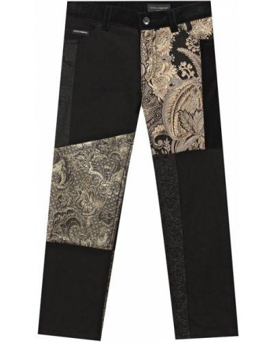 Джинсы черные с декоративной отделкой Dolce & Gabbana