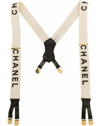 Белые кожаные подтяжки винтажные Chanel Pre-owned