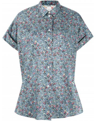 Синяя классическая рубашка с короткими рукавами с воротником Paul Smith